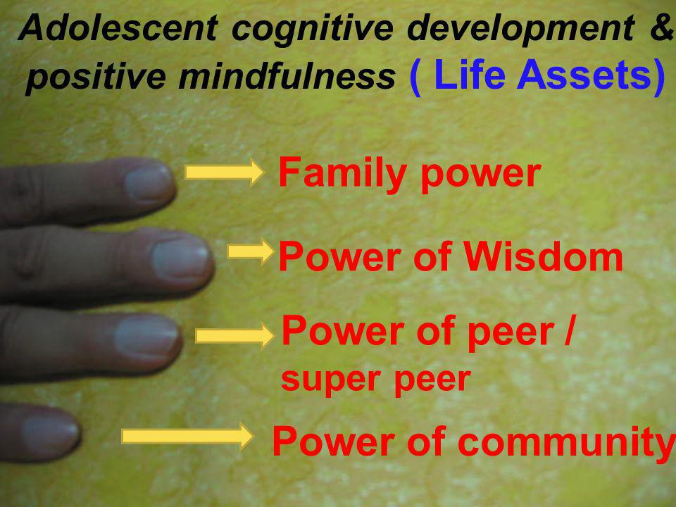 Family power Power of Wisdom Power of peer / super peer Power of community Adolescent cognitive development & positive mindfulness ( Life Assets)