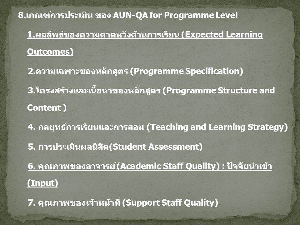 8.เกณฑ์การประเมิน ของ AUN-QA for Programme Level 1.ผลลัพธ์ของความคาดหวังด้านการเรียน (Expected Learning Outcomes) 2.ความเฉพาะของหลักสูตร (Programme Sp