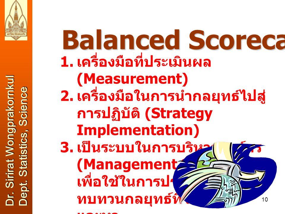 9 Balanced Scorecard เริ่มต้นในปี 1992 เพื่อใช้เป็นเครื่องมือในการ ประเมินผลการดำเนินงานขององค์กรให้ครบถ้วน ในทุกๆ ด้าน –ในอดีตผู้บริหาร (โดยเฉพาะองค์