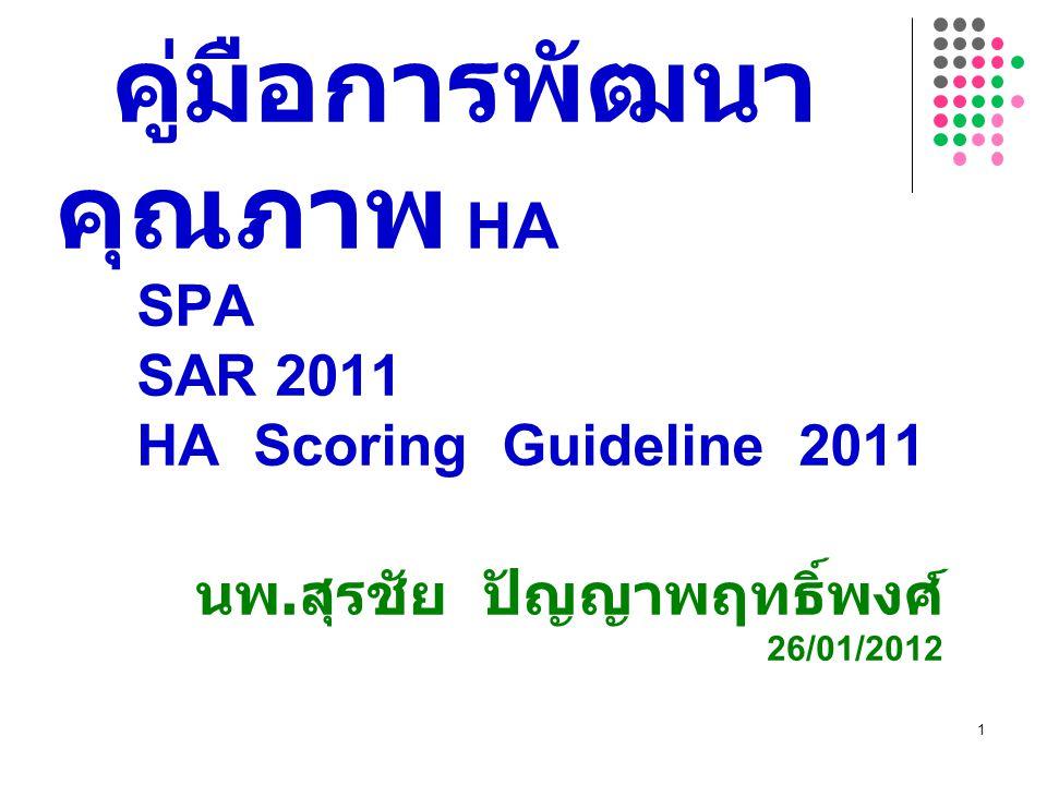 คู่มือการพัฒนา คุณภาพ HA SPA SAR 2011 HA Scoring Guideline 2011 นพ. สุรชัย ปัญญาพฤทธิ์พงศ์ 26/01/2012 1