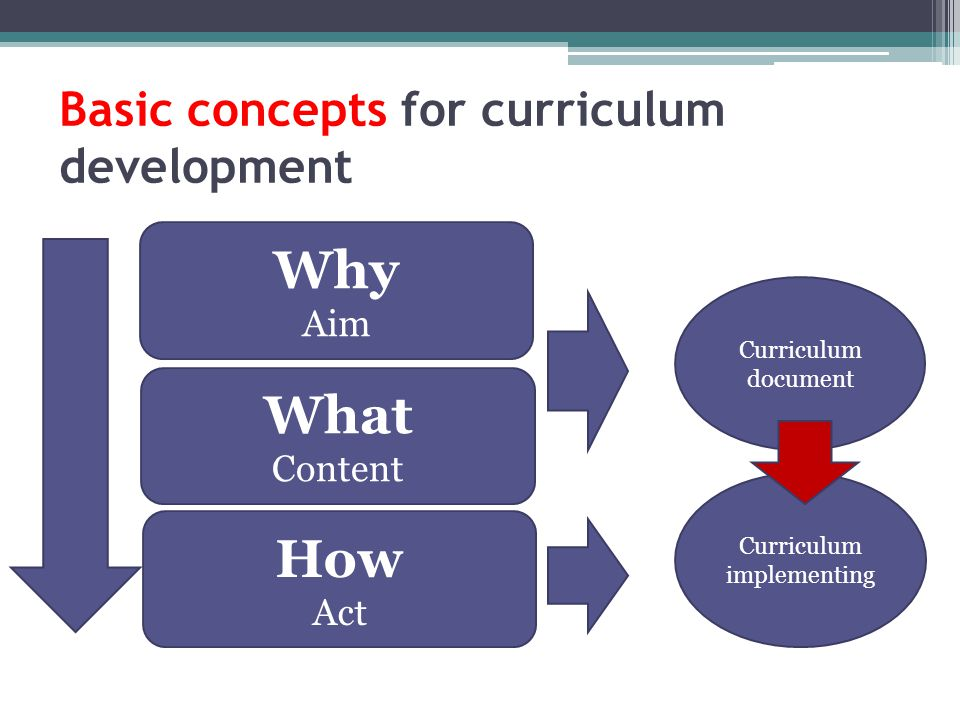 Basic concepts for curriculum development Why Aim How Act What Content Curriculum document Curriculum implementing