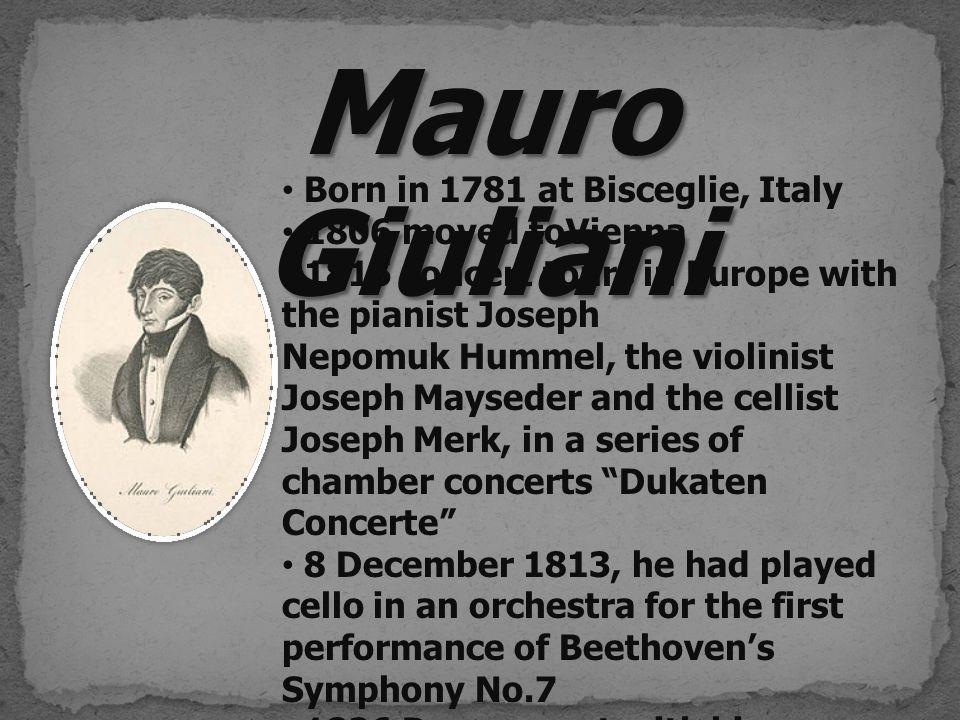 ตีพิมพ์ครั้งแรกในปี 1808 ที่ Vienna โดยสำนักพิมพ์ Imprimeric Chimique ซึ่งในขณะนั้น Giuliani น่าจะได้รับอิธิพลมาจากงานของ Haydn.