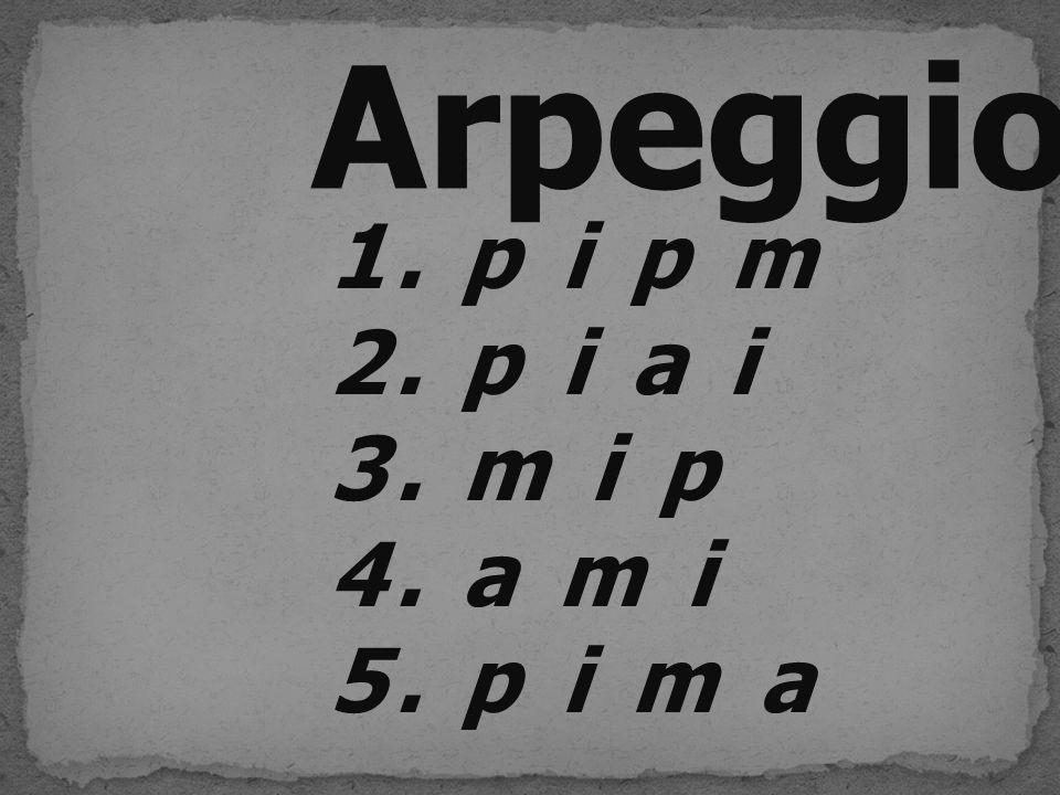 Arpeggio 1.p i p m 2.p i a i 3.m i p 4.a m i 5.p i m a