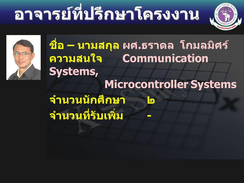 อาจารย์ที่ปรึกษาโครงงาน ชื่อ – นามสกุลผศ. ธราดล โกมลมิศร์ ความสนใจ Communication Systems, Microcontroller Systems จำนวนนักศึกษา ๒ จำนวนที่รับเพิ่ม -