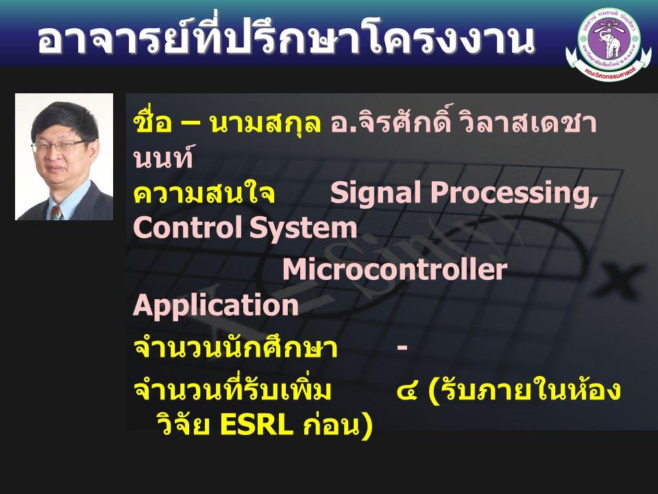 อาจารย์ที่ปรึกษาโครงงาน ชื่อ – นามสกุลอ. จิรศักดิ์ วิลาสเดชา นนท์ ความสนใจ Signal Processing, Control System Microcontroller Application จำนวนนักศึกษา