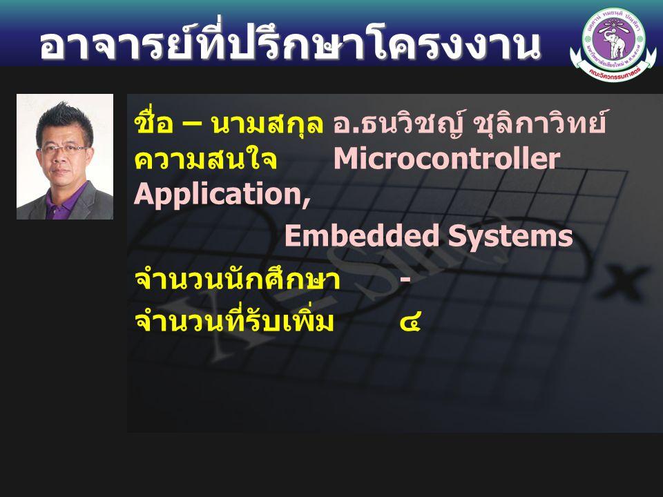 อาจารย์ที่ปรึกษาโครงงาน ชื่อ – นามสกุลอ. ธนวิชญ์ ชุลิกาวิทย์ ความสนใจ Microcontroller Application, Embedded Systems จำนวนนักศึกษา - จำนวนที่รับเพิ่ม ๔