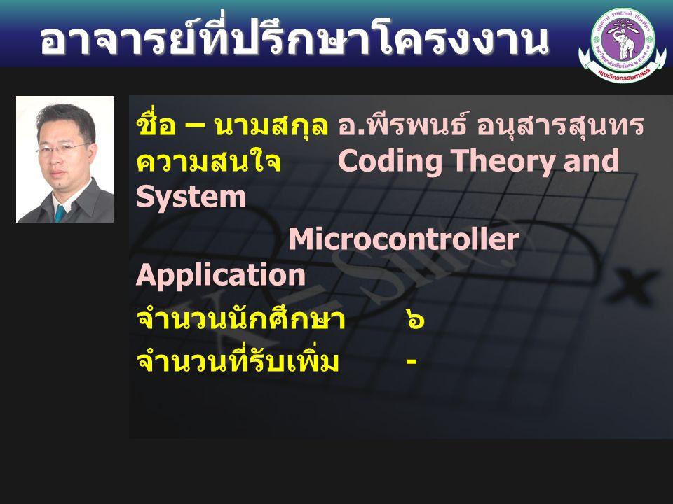 อาจารย์ที่ปรึกษาโครงงาน ชื่อ – นามสกุลอ. พีรพนธ์ อนุสารสุนทร ความสนใจ Coding Theory and System Microcontroller Application จำนวนนักศึกษา ๖ จำนวนที่รับ
