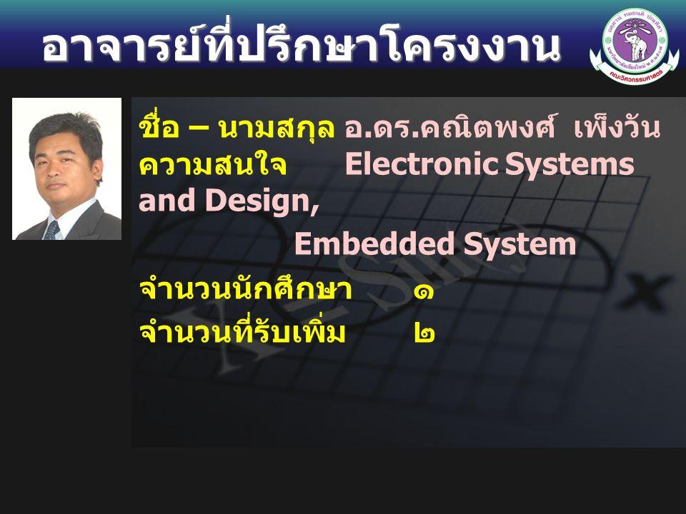 อาจารย์ที่ปรึกษาโครงงาน ชื่อ – นามสกุลอ. ดร. คณิตพงศ์ เพ็งวัน ความสนใจ Electronic Systems and Design, Embedded System จำนวนนักศึกษา ๑ จำนวนที่รับเพิ่ม