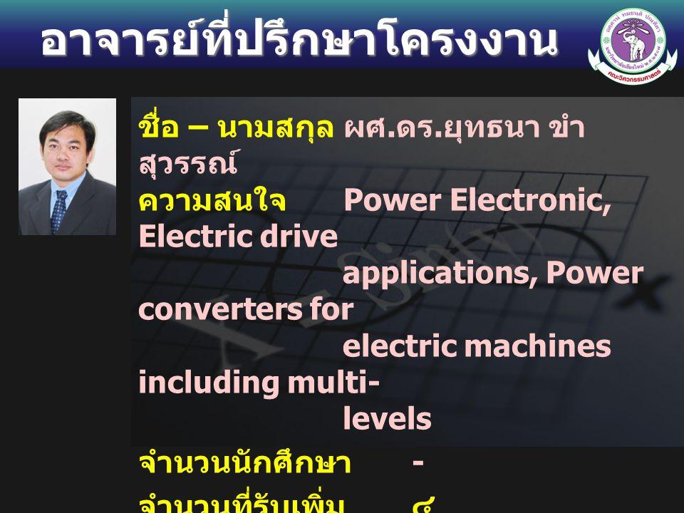 อาจารย์ที่ปรึกษาโครงงาน ชื่อ – นามสกุลผศ. ดร. ยุทธนา ขำ สุวรรณ์ ความสนใจ Power Electronic, Electric drive applications, Power converters for electric