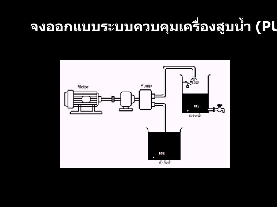 จงออกแบบระบบควบคุมเครื่องสูบน้ำ (PUMP CONTROL)