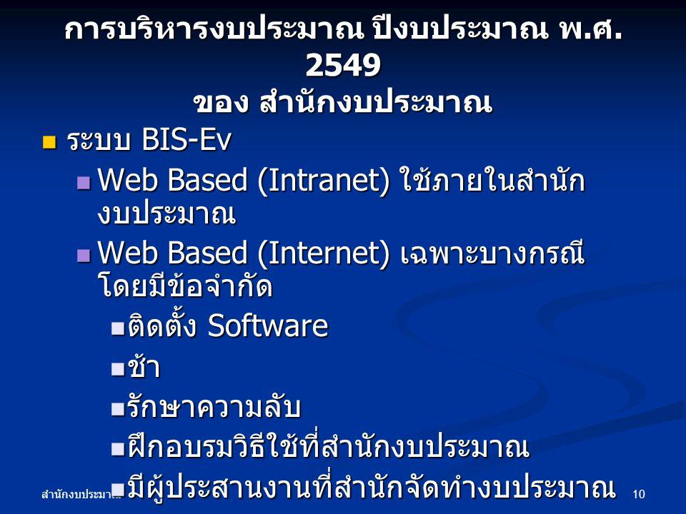 สำนักงบประมาณ 10 การบริหารงบประมาณ ปีงบประมาณ พ. ศ. 2549 ของ สำนักงบประมาณ ระบบ BIS-Ev ระบบ BIS-Ev Web Based (Intranet) ใช้ภายในสำนัก งบประมาณ Web Bas