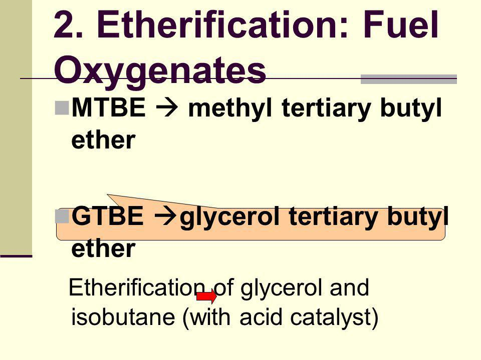 MTBE  methyl tertiary butyl ether GTBE  glycerol tertiary butyl ether Etherification of glycerol and isobutane (with acid catalyst) Dibutoxy glycero