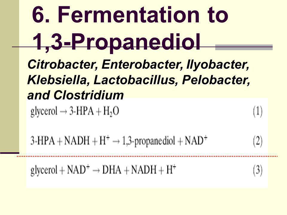 6. Fermentation to 1,3-Propanediol Citrobacter, Enterobacter, Ilyobacter, Klebsiella, Lactobacillus, Pelobacter, and Clostridium