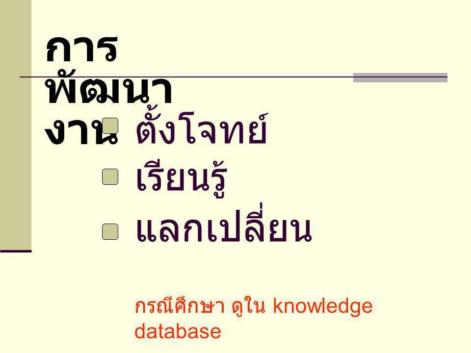 ตั้งโจทย์ เรียนรู้ แลกเปลี่ยน การ พัฒนา งาน กรณีศึกษา ดูใน knowledge database