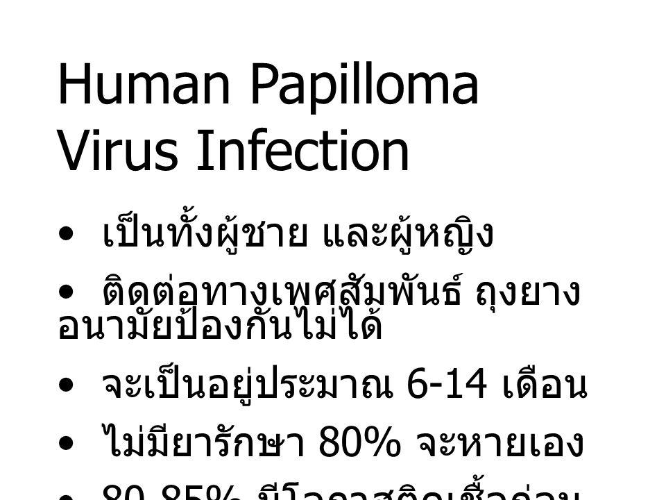 Human Papilloma Virus Infection เป็นทั้งผู้ชาย และผู้หญิง ติดต่อทางเพศสัมพันธ์ ถุงยาง อนามัยป้องกันไม่ได้ จะเป็นอยู่ประมาณ 6-14 เดือน ไม่มียารักษา 80% จะหายเอง 80-85% มีโอกาสติดเชื้อก่อน อายุ 30 ปี