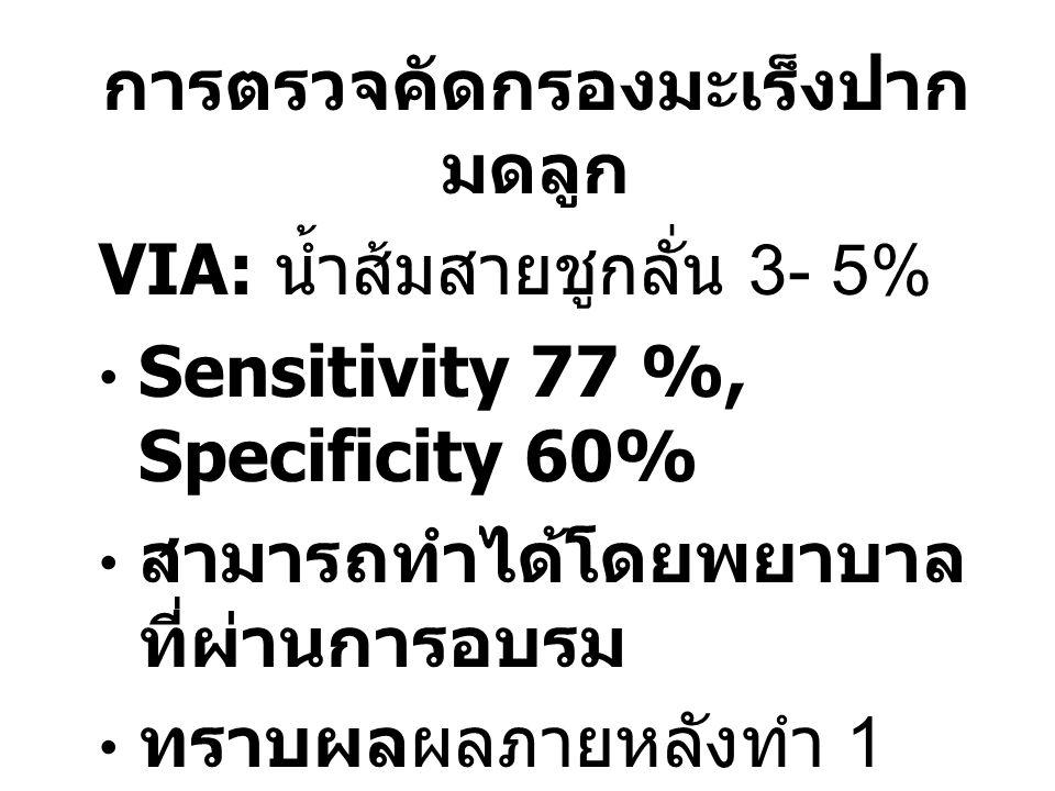 การตรวจคัดกรองมะเร็งปาก มดลูก VIA: น้ำส้มสายชูกลั่น 3- 5% Sensitivity 77 %, Specificity 60% สามารถทำได้โดยพยาบาล ที่ผ่านการอบรม ทราบผลผลภายหลังทำ 1 นาที เหมาะสมในที่ที่มีทรัพยากร จำกัด