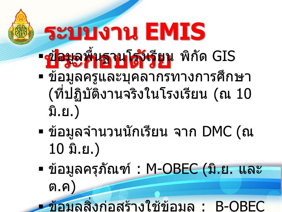 ระบบงาน EMIS ประกอบด้วย  ข้อมูลพื้นฐานโรงเรียน พิกัด GIS  ข้อมูลครูและบุคลากรทางการศึกษา ( ที่ปฏิบัติงานจริงในโรงเรียน ( ณ 10 มิ. ย.)  ข้อมูลจำนวนน