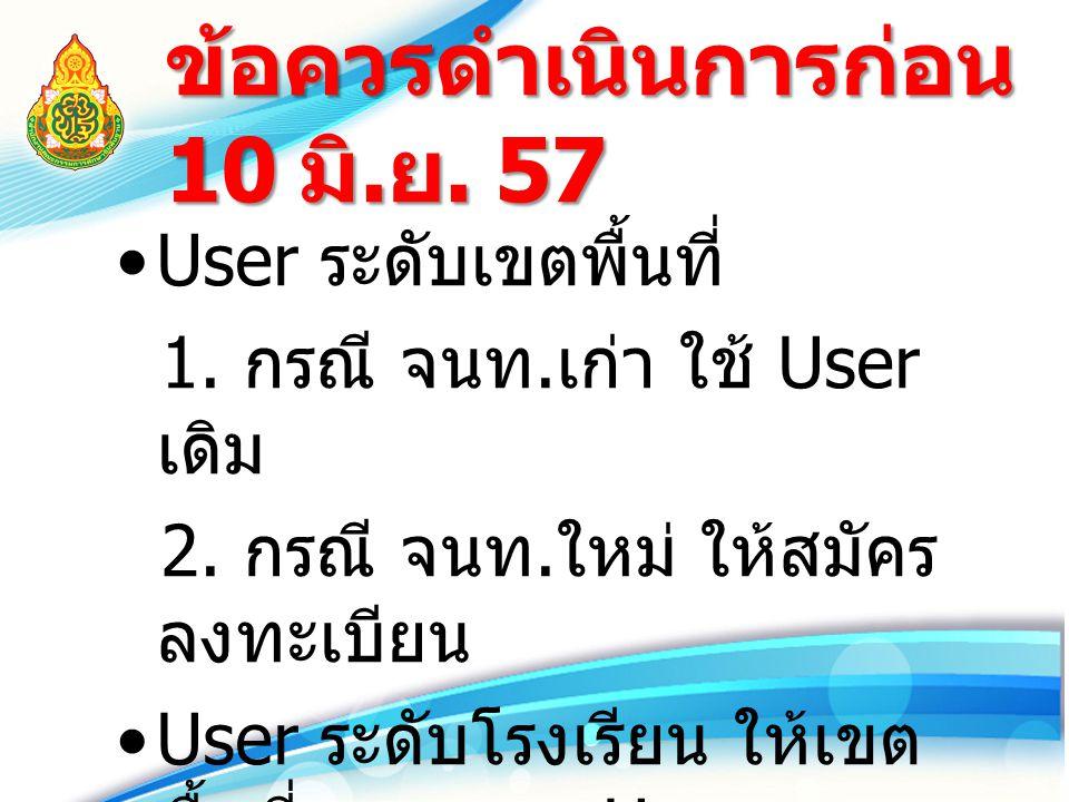 ข้อควรดำเนินการก่อน 10 มิ. ย. 57 User ระดับเขตพื้นที่ 1. กรณี จนท. เก่า ใช้ User เดิม 2. กรณี จนท. ใหม่ ให้สมัคร ลงทะเบียน User ระดับโรงเรียน ให้เขต พ