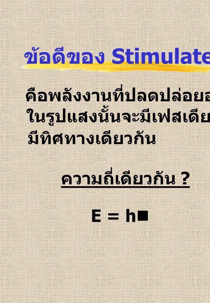 ข้อดีของ Stimulated Emission คือพลังงานที่ปลดปล่อยออกมา ในรูปแสงนั้นจะมีเฟสเดียวกัน มีทิศทางเดียวกัน ความถี่เดียวกัน ? E = hn
