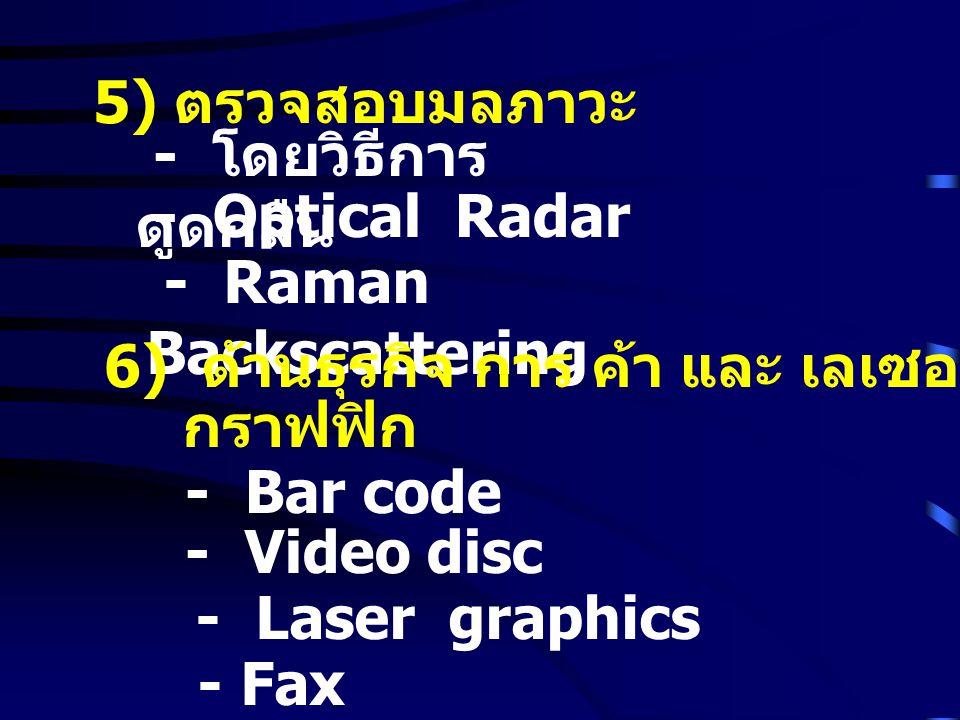 5) ตรวจสอบมลภาวะ - โดยวิธีการ ดูดกลืน - Optical Radar - Raman Backscattering 6) ด้านธุรกิจ การ ค้า และ เลเซอร์ กราฟฟิก - Bar code - Video disc - Laser graphics - Fax