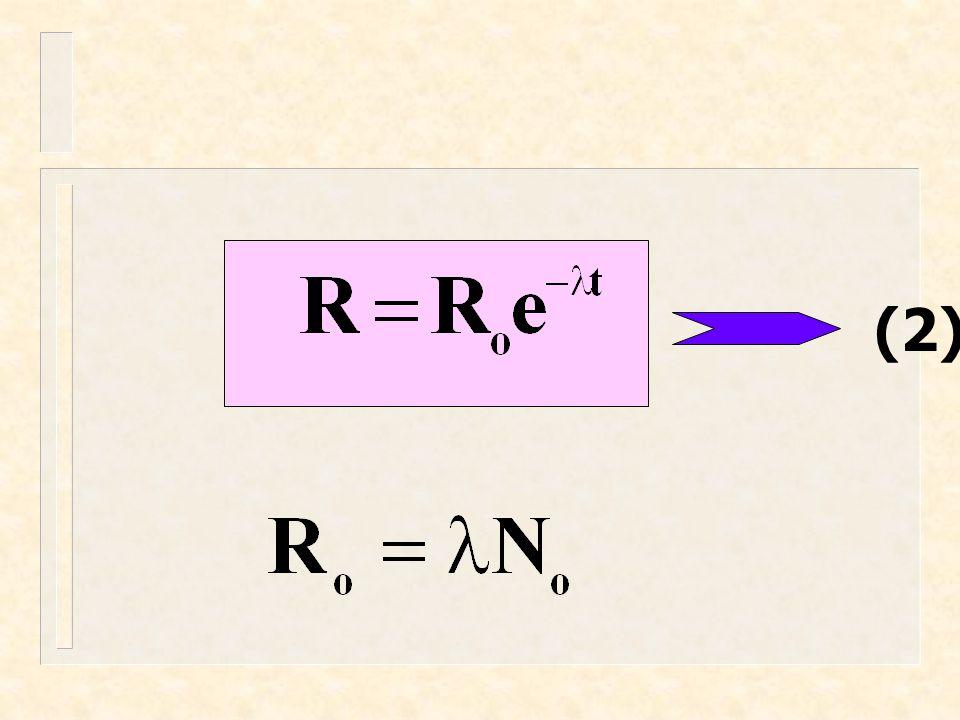  = disintegration constant = จำนวนนิวเคลียสที่เหลือ N = จำนวนนิวเคลียสที่เริ่มต้น NoNo = อัตราการสลายตัว (curie) R