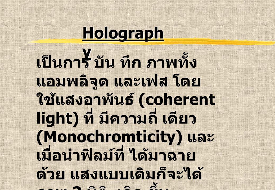 Holograph y เป็นการ บัน ทึก ภาพทั้ง แอมพลิจูด และเฟส โดย ใช้แสงอาพันธ์ (coherent light) ที่ มีความถี่ เดียว (Monochromticity) และ เมื่อนำฟิลม์ที่ ได้มาฉาย ด้วย แสงแบบเดิมก็จะได้ ภาพ 3 มิติ เกิด ขึ้น