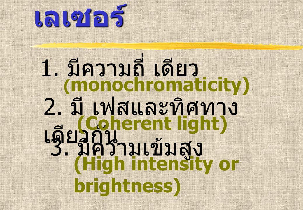 1. มีความถี่ เดียว ( monochromaticity) 2. มี เฟสและทิศทาง เดียวกัน (Coherent light) 3. มีความเข้มสูง (High intensity or brightness) ลักษณะของ เลเซอร์