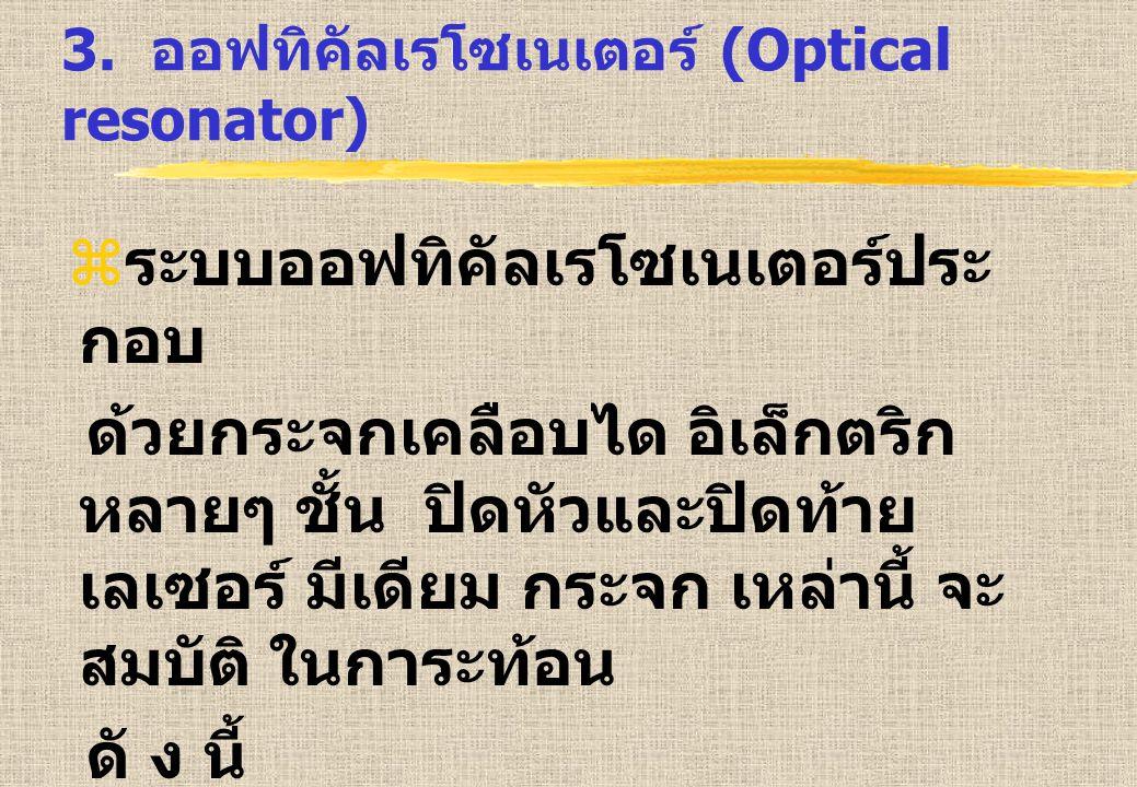 3. ออฟทิคัลเรโซเนเตอร์ (Optical resonator)  ระบบออฟทิคัลเรโซเนเตอร์ประ กอบ ด้วยกระจกเคลือบได อิเล็กตริก หลายๆ ชั้น ปิดหัวและปิดท้าย เลเซอร์ มีเดียม ก