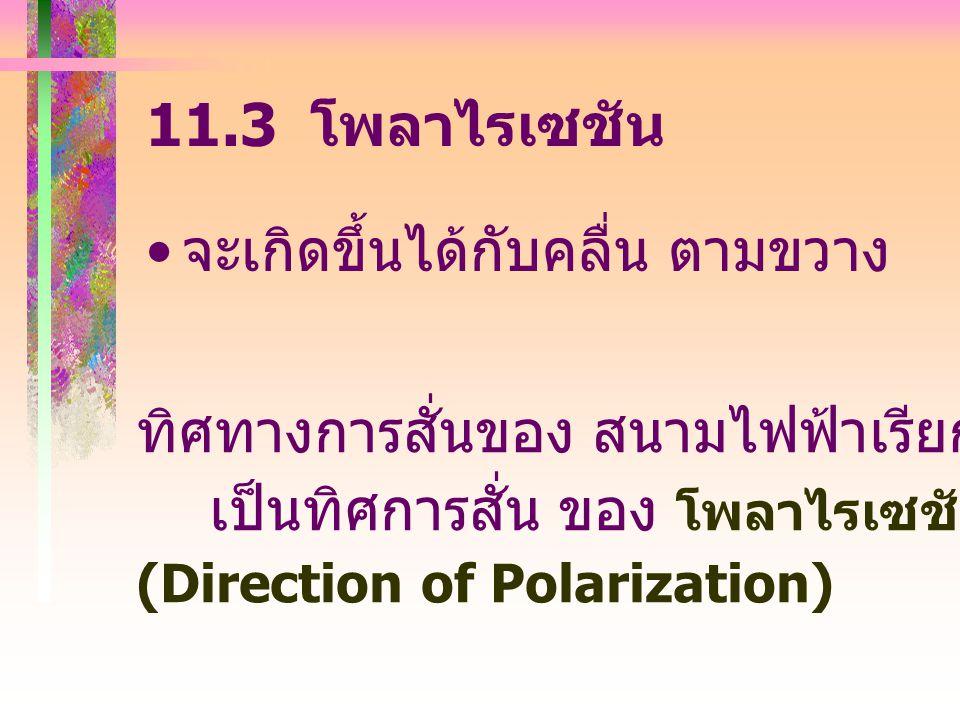 11.3 โพลาไรเซชัน จะเกิดขึ้นได้กับคลื่น ตามขวาง ทิศทางการสั่นของ สนามไฟฟ้าเรียกว่า เป็นทิศการสั่น ของ โพลาไรเซชัน (Direction of Polarization)
