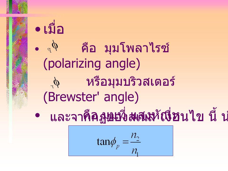 11.3.2 การโพลาไรเซซันโดย การสะท้อน มุมบริวสเตอร์ (Brewster's angle) คือ มุม ตกกระทบ มุมหนึ่งที่ ทำ ให้ แสง สะท้อน เป็นแสงโพลาไรซ์ เชิงเส้น 100% โดยมีเ