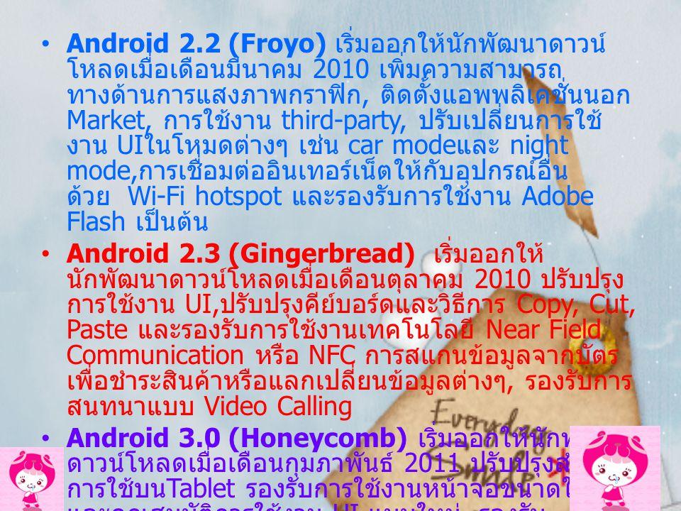 เวอร์ชั่นต่าง ๆ ของ Android OS Google ได้ผลิต Android OS Version1.0 ขึ้นและได้พัฒนา ปรับปรุงระบบปฏิบัติการอยู่เรื่อย ๆ บางเวอร์ชั่นจะมีโค้ด เนมสำหรับเรียกเวอร์ชั่นของระบบปฏิบัติการ Android คือ Android 1.5 (Cupcake), Android 1.6 (Donut) เริ่ม ออกให้นักพัฒนาดาวน์โหลดเมื่อเดือนตุลาคม 2009 Android 2.0/2.1 (Eclair) เริ่มออกให้นักพัฒนาดาวน์ โหลดเมื่อเดือนมกราคม 2010 ปรับปรุงการใช้งาน หลาย ๆด้าน เช่น ภาพวอลล์เปเปอร์แบบเคลื่อนไหว, เปลี่ยนหน้า App launcher ใหม่, พิมพ์ข้อความด้วยเสียง, เพิ่ม Widget ในหน้า Home, การท่องเว็บด้วย HTML5 และการซิงค์แอคเคาท์ แบบ Exchange เป็นต้น