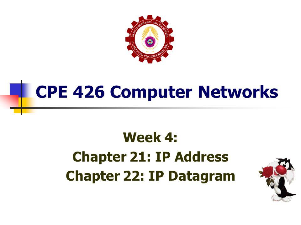 Ch22: 22.5 IP Datagram Header Format (IPv4) SOURCE & DESTINATION IP ADDRESS.
