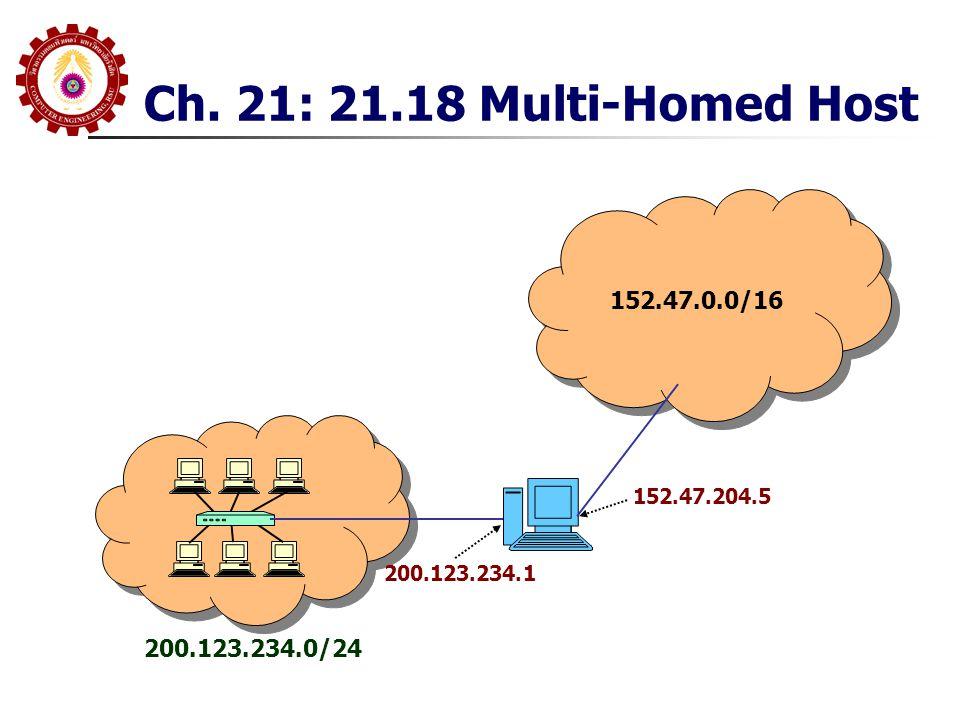 Ch. 21: 21.18 Multi-Homed Host 152.47.0.0/16 200.123.234.0/24 200.123.234.1 152.47.204.5