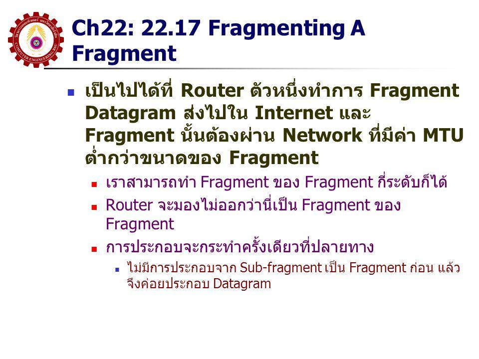 Ch22: 22.17 Fragmenting A Fragment เป็นไปได้ที่ Router ตัวหนึ่งทำการ Fragment Datagram ส่งไปใน Internet และ Fragment นั้นต้องผ่าน Network ที่มีค่า MTU ต่ำกว่าขนาดของ Fragment เราสามารถทำ Fragment ของ Fragment กี่ระดับก็ได้ Router จะมองไม่ออกว่านี่เป็น Fragment ของ Fragment การประกอบจะกระทำครั้งเดียวที่ปลายทาง ไม่มีการประกอบจาก Sub-fragment เป็น Fragment ก่อน แล้ว จึงค่อยประกอบ Datagram