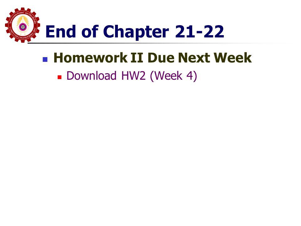End of Chapter 21-22 Homework II Due Next Week Download HW2 (Week 4)