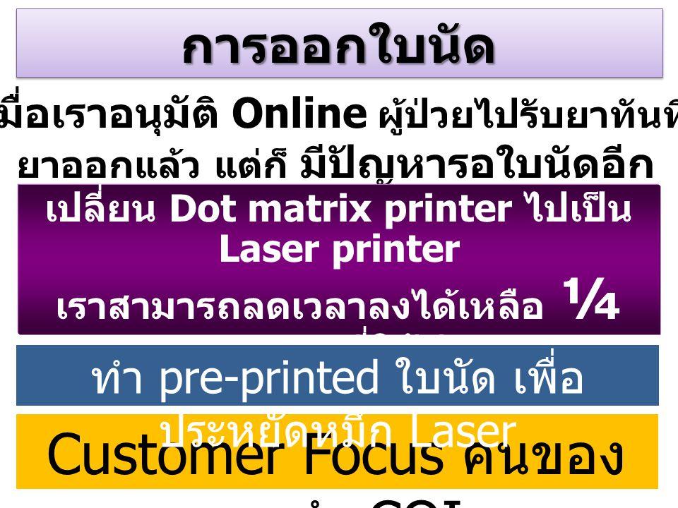 การออกใบนัดการออกใบนัด เมื่อเราอนุมัติ Online ผู้ป่วยไปรับยาทันที ยาออกแล้ว แต่ก็ มีปัญหารอใบนัดอีก เปลี่ยน Dot matrix printer ไปเป็น Laser printer เร