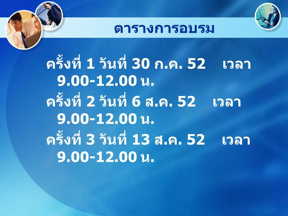 ตารางการอบรม ครั้งที่ 1 วันที่ 30 ก. ค. 52 เวลา 9.00-12.00 น.