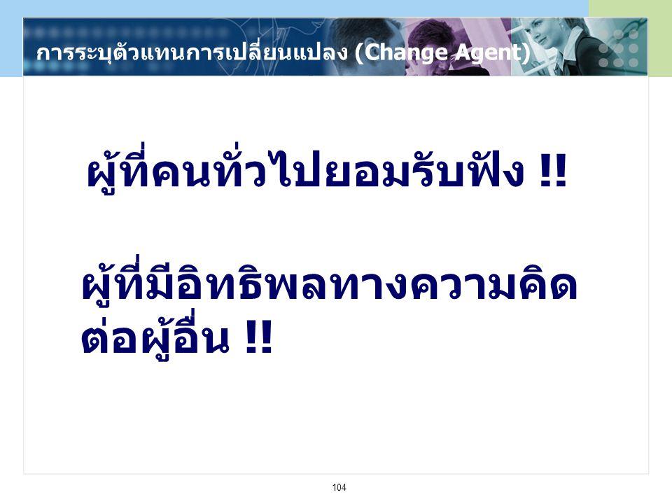 104 การระบุตัวแทนการเปลี่ยนแปลง (Change Agent) ผู้ที่คนทั่วไปยอมรับฟัง !! ผู้ที่มีอิทธิพลทางความคิด ต่อผู้อื่น !!