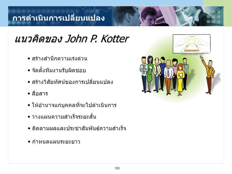 109 การดำเนินการเปลี่ยนแปลง แนวคิดของ John P. Kotter สร้างสำนึกความเร่งด่วน จัดตั้งทีมงานรับผิดชอบ สร้างวิสัยทัศน์ของการเปลี่ยนแปลง สื่อสาร ให้อำนาจแก
