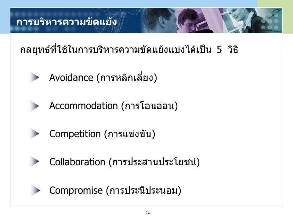 24 กลยุทธ์ที่ใช้ในการบริหารความขัดแย้งแบ่งได้เป็น 5 วิธี Avoidance (การหลีกเลี่ยง) Accommodation (การโอนอ่อน) Competition (การแข่งขัน) Collaboration (