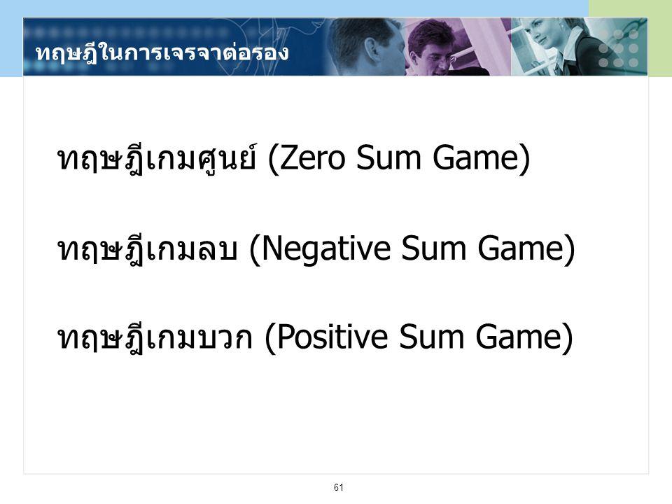 61 ทฤษฎีในการเจรจาต่อรอง ทฤษฎีเกมศูนย์ (Zero Sum Game) ทฤษฎีเกมลบ (Negative Sum Game) ทฤษฎีเกมบวก (Positive Sum Game)