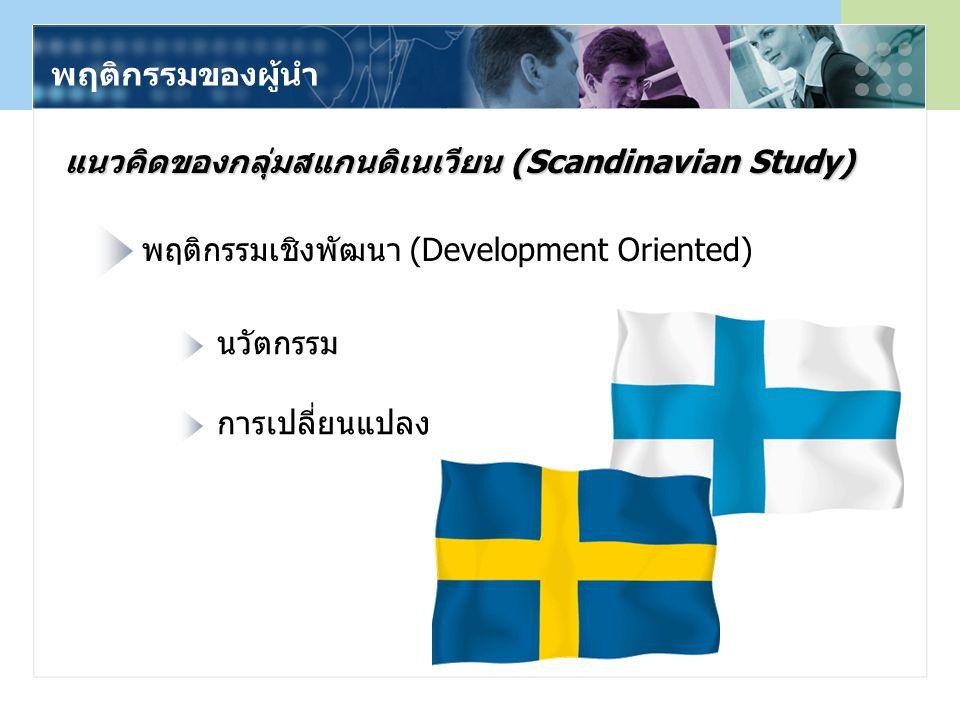 พฤติกรรมของผู้นำ แนวคิดของกลุ่มสแกนดิเนเวียน (Scandinavian Study) พฤติกรรมเชิงพัฒนา (Development Oriented) นวัตกรรม การเปลี่ยนแปลง