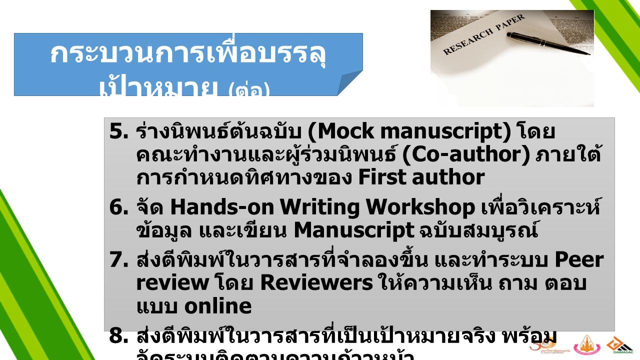 5. ร่างนิพนธ์ต้นฉบับ (Mock manuscript) โดย คณะทำงานและผู้ร่วมนิพนธ์ (Co-author) ภายใต้ การกำหนดทิศทางของ First author 6. จัด Hands-on Writing Workshop