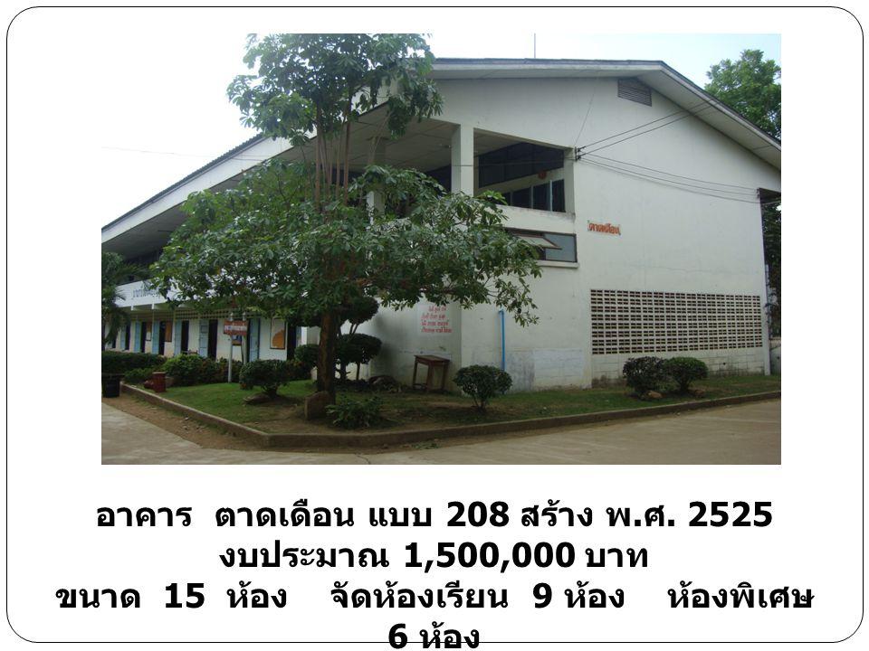 อาคาร ตาดเดือน แบบ 208 สร้าง พ. ศ. 2525 งบประมาณ 1,500,000 บาท ขนาด 15 ห้อง จัดห้องเรียน 9 ห้อง ห้องพิเศษ 6 ห้อง
