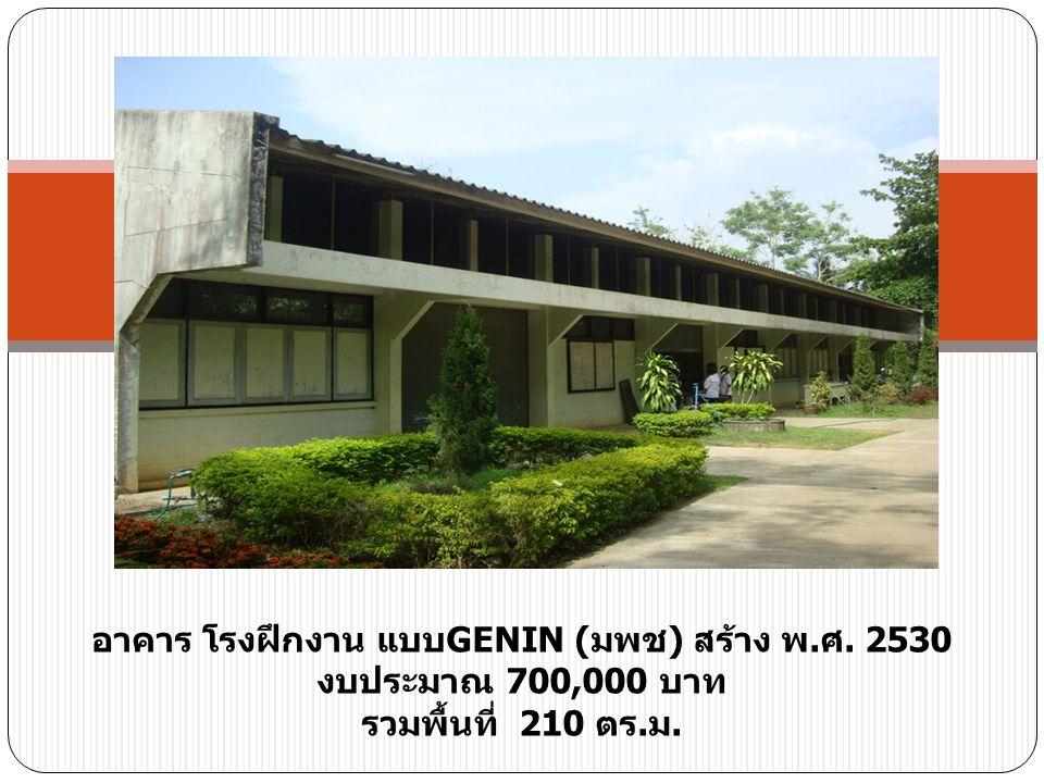อาคาร โรงฝึกงาน แบบ GENIN ( มพช ) สร้าง พ. ศ. 2530 งบประมาณ 700,000 บาท รวมพื้นที่ 210 ตร. ม.