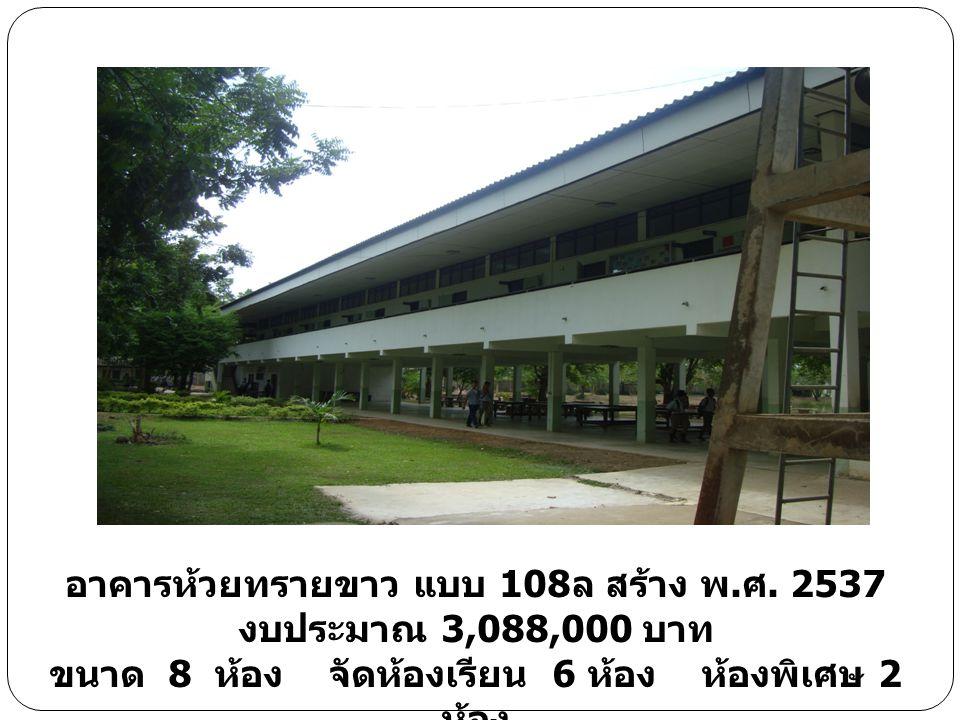 อาคารห้วยทรายขาว แบบ 108 ล สร้าง พ. ศ. 2537 งบประมาณ 3,088,000 บาท ขนาด 8 ห้อง จัดห้องเรียน 6 ห้อง ห้องพิเศษ 2 ห้อง