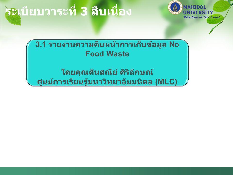 MAHIDOL UNIVERSITY Wisdom of the Land ระเบียบวาระที่ 3 สืบเนื่อง 3.1 รายงานความคืบหน้าการเก็บข้อมูล No Food Waste โดยคุณศันสณีย์ ศิริลักษณ์ ศูนย์การเร