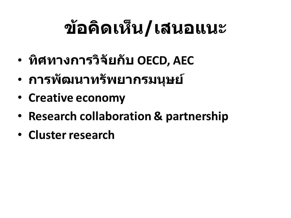 ข้อคิดเห็น / เสนอแนะ ทิศทางการวิจัยกับ OECD, AEC การพัฒนาทรัพยากรมนุษย์ Creative economy Research collaboration & partnership Cluster research