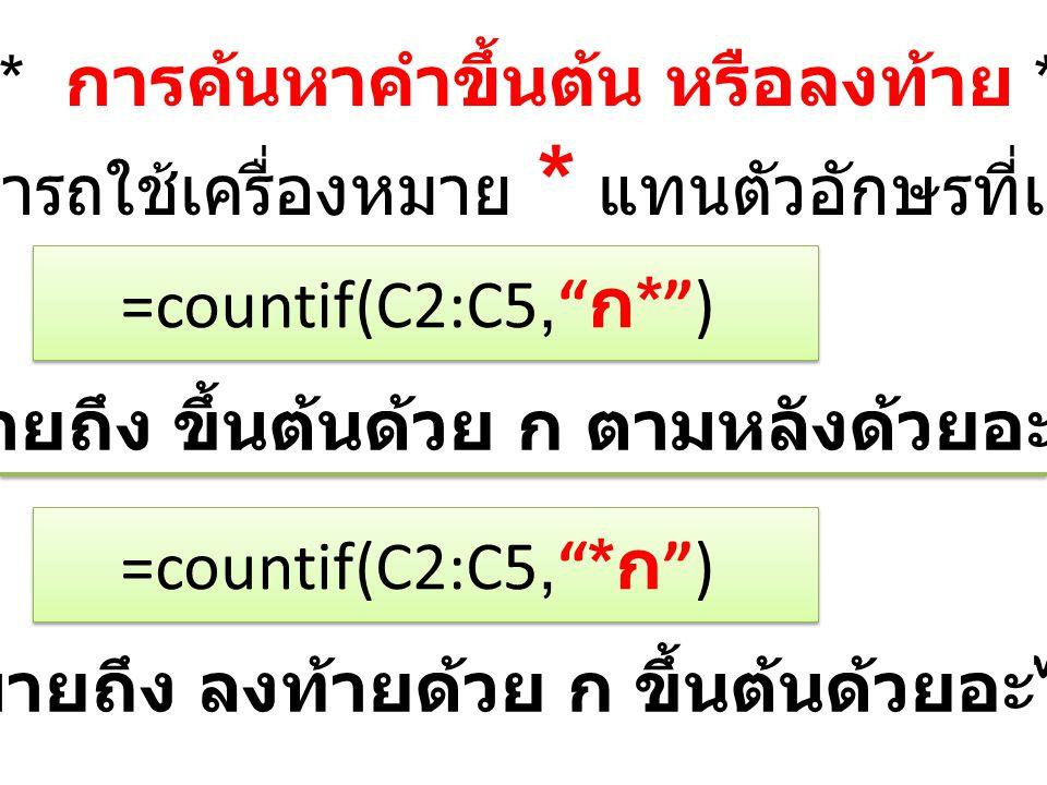 ***** การค้นหาคำขึ้นต้น หรือลงท้าย ***** สามารถใช้เครื่องหมาย * แทนตัวอักษรที่เหลือ =countif(C2:C5, ก * ) หมายถึง ขึ้นต้นด้วย ก ตามหลังด้วยอะไรก็ได้ =countif(C2:C5, * ก ) หมายถึง ลงท้ายด้วย ก ขึ้นต้นด้วยอะไรก็ได้