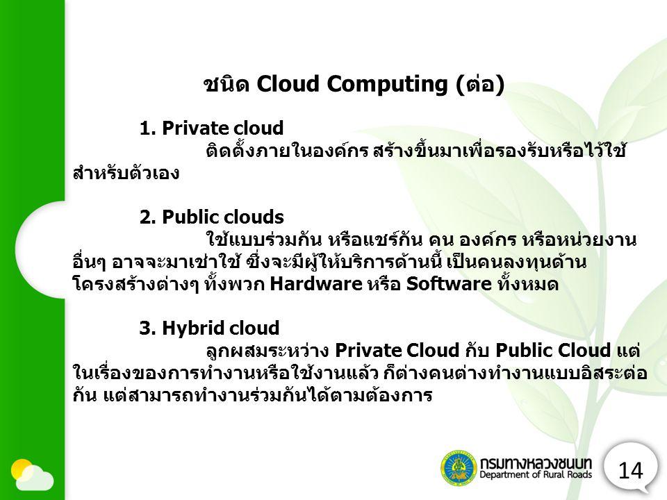 14 1. Private cloud ติดตั้งภายในองค์กร สร้างขึ้นมาเพื่อรองรับหรือไว้ใช้ สำหรับตัวเอง 2. Public clouds ใช้แบบร่วมกัน หรือแชร์กัน คน องค์กร หรือหน่วยงาน